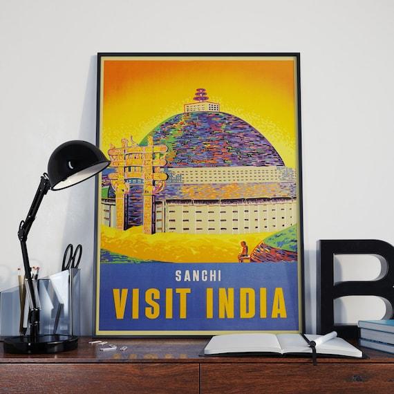 Travel Poster Travel Print Visit India Poster Mid Century