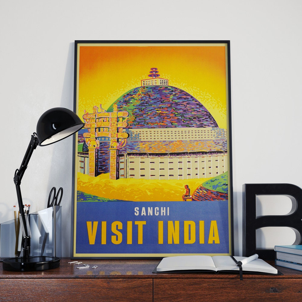Travel Poster Travel Print Visit India Poster Mid Century Tourist ...