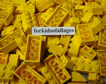 50 Yellow Lego Bricks and Plates - Bulk Parts & Pieces Lot