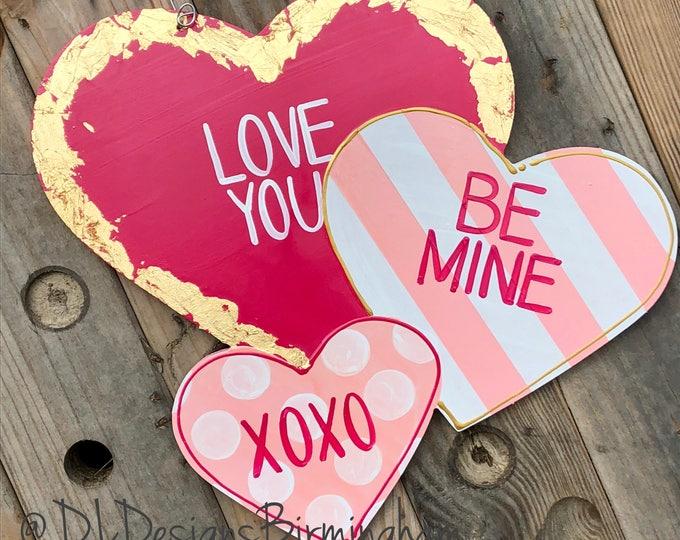 Inventory SALE Valentine's Day Heart Door Hanger conversation hearts