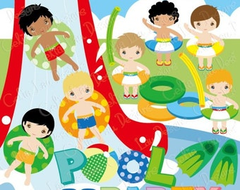 Boys Pool Party / Swim Party Invitation / Swimming Clipart / Summer Pool Party Clipart (CG146) / INSTANT DOWNLOAD