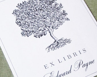 Classic Bookplate with Vintage Grey  Tree Illustration, set of 24.