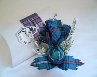 Scottish Tartan Large Heather & Thistle Buttonhole