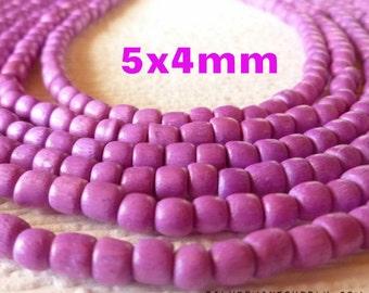 Purple Wood Barrel Beads - Wooden Barrel Beads - Wood Barrel Beads - Purple Beads - 5mm Wooden Beads - Colorful Beads - 5mm Wood Beads