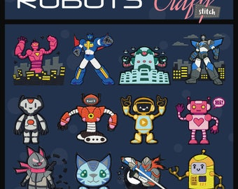 Machine Embroidery Designs - Robot Collection of 12