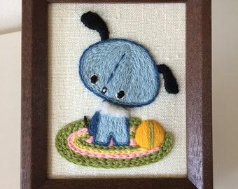 Framed Embroidered Blue Puppy Dog