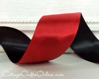 "Wired Ribbon, 1 1/2"" wide, Scarlet Red and Black Double Face - THREE YARDS - Offray ""Duo"", Christmas, Valentine Double Sided Wire Edged"