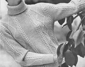 Greenock Lady's Aran Sweater Jumper and Aran Cardigan Double Knit Vintage PDF Download