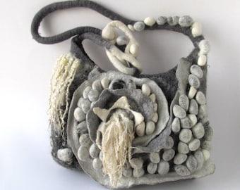 Messenger bag  Original  bag Unique Felted  handbag  textile art handbag felt purse Grey crossbody bag textile art by Galafilc outdoors gift