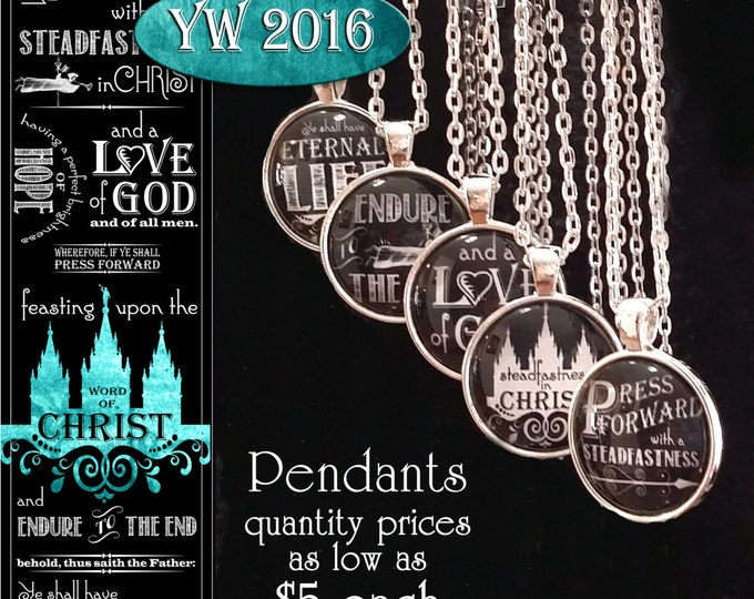 Press Forward Pendant YW Young Women or missionary gifts 2016 theme. Chalkboard style. Only 5 dollars each!