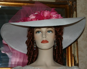 Kentucky Derby Hat Southern Belle Hat Ascot Edwardian Tea Hat Titanic Hat Downton Abbey Hat Women's White & Pink Hat - Sweetheart of Miami