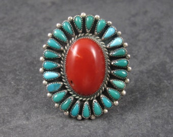 Vintage Navajo Petit Point Turquoise Coral Cluster Ring Size 7