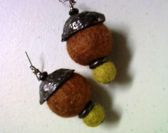 Brown, Black and Olive Green Funky Ethnic Inspired Earrings (1266)
