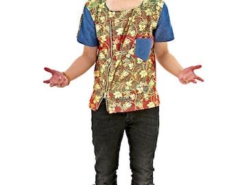 MYB Ankara Shirt with Denim sleeve
