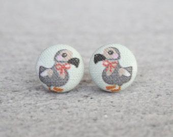 Dapper Dodos Fabric Button Earrings