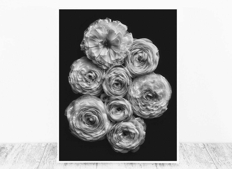Flower Artwork Black And White Artwork Flower Wall Decor Black And