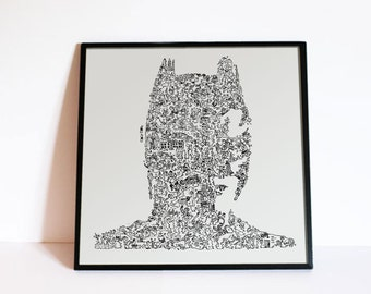 "Batman - The dark Knight - Christian Bale - Doodle Portrait - Comics art poster Gotham City - Ltd Edition of 100 - 8"" x 8"""