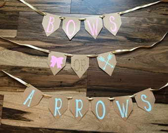 Bows or Arrows Banner/ gender Reveal party/ bows or arrows decoration