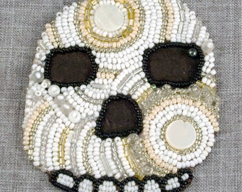Embroidered, Skull, Modern Embroidery, Mixed Media, Bead Embroidery, Embroidery Art, Wall Art, Gift Idea