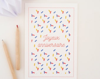 "PRICE MINI greeting card ""Happy birthday"" confetti pattern"