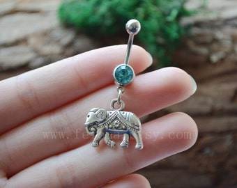 Silvery elephant belly button ring, elephant Navel Ring ,friendship belly rings, Dangle Belly Ring , Belly Button Piercing, Belly jewelry