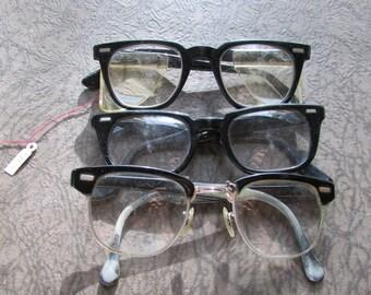 Vintage 1950's Eyeglasses Lot of 3 Black Horn Rim Glasses/ Magnifiers/ Safety Glasses/ Half Rim