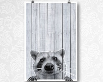 Raccoon on Wood Print, Woodland Nursery Art, Forest Animal, Rustic Wall Art, Prints on Wood, Wood Wall Art, Funny Animal, Raccoon Printable