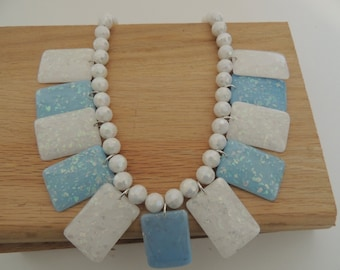 Harmony - A gorgeous Vibrant opalescent effect blue & White necklace great for summer