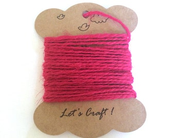 jute twine - 5 meters or 5.4 yards - craft gift wrapping twine - color hemp string - tag string - jute rope - burlap string - hot pink color
