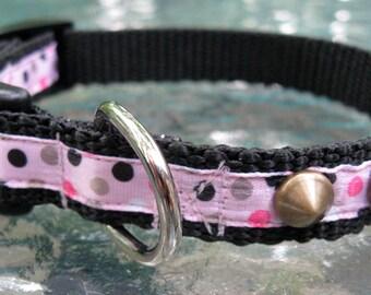 Cute Pink Dog Collar, Studded dog collar, XS Dog Collar, polka dots, toy dog collar, female dog collar, dog collar for girl, cute pet collar