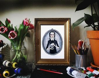 Wednesday Adams//digital print//illustration//skull//creepy//art//poster