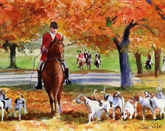 Foxhunt horse art Print of my watercolor painting    Fall Hunt thoroughbred equestrian warmblood chestnut red orange fall