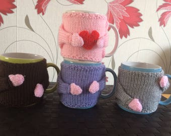 Father's day/Teacher Gift FREE Red Heart with every Mug Cosy, Mug Hug Cozy with arms and moveable hand with hooks to position where you want