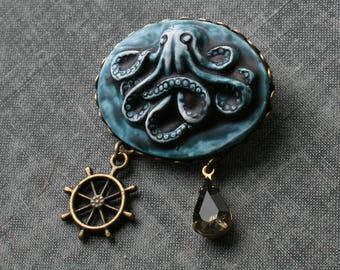 Octopus Cameo Brooch, Octopus Broach, Octopus Brooch, Octopus Cameo Broach, Blue, Steampunk Octopus Brooch, Steampunk Cameo
