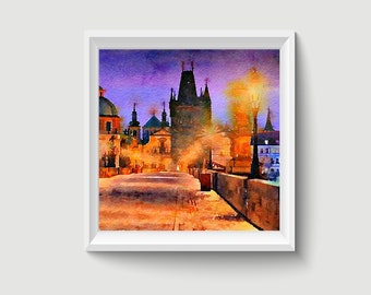 Charles Bridge Prague Czech Republic Painting Postcard Poster Art Print Q119