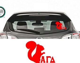 Alpha Gamma Delta Squirrel Decal - Alpha Gamma Delta Squirrel - Vinyl Decal - Alpha Gamma Delta Car Decal - Alpha Gamma Delta - Car Decal