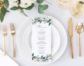 Editable Template - Instant Download Leafy Dinner Menu