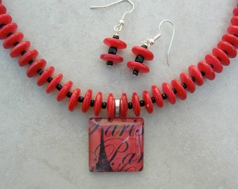 """SALE - 50% off, Eiffel Tower in Paris, """"Memories,"""" Fused Glass Pendant, Red Shell and Black Glass Beads, Necklace Set by SandraDesigns"""