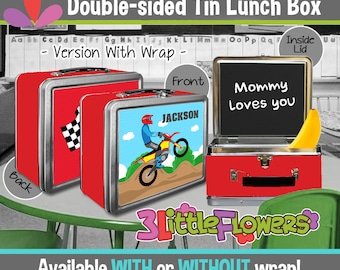 Personalized MotoCross Lunchbox - Personalized Metal Lunch Box Chalkboard inside - Double-sided Tin Lunch Box - Moto cross Lunch Box