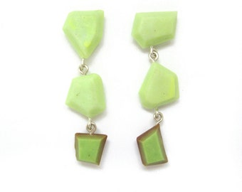 Yellow Green Earrings, Modern Geometric Earrings, Lime Green Dangle Earrings, Sterling Silver, Mix and Match Earrings, Colorful Jewelry