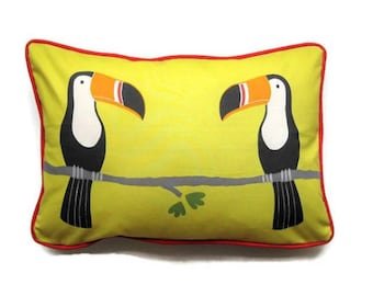 Cushion cover, throw pillow cover, homeware decor, Scion Fabrics Tommy Toucan, yellow, black, red two toucans, lumbar, oblong 14 by 20 ins.