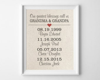 Our Greatest Blessings Call Us GRANDMA & GRANDPA | 100% Cotton Print | Grandchild Grandparents Print | names and birth dates