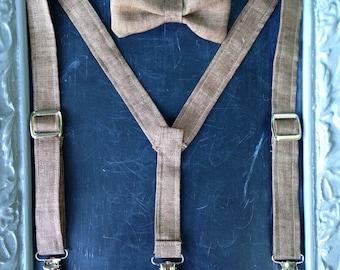 Boys Suspenders Bow Tie set Brown Linen