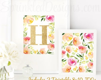 Floral Nursery Decor, Nursery Letter H, Baby Girl Nursery Decor, Printable Girl Nursery Initial Wall Art, Floral Home Decor, Floral Birthday