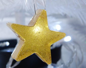 Christmas Stars. Resin Stars, Glitter Stars, Star Decorations, Christmas Decorations, Star Baubles, Gold Stars. Glittery stars