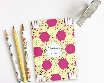 Patchwork design customised notebook - patchwork themed personalised gift - quilting accessory - gift for quilter - patchwork gift