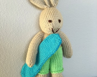 Stuffed Animal - Soft Toy - Surfer - Handmade Toy - Knitted Bunny - Kids Toy