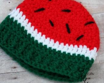 Preemie Newborn Watermelon Hat | Baby Watermelon Hat Crochet Pattern | Newborn Baby Crochet Hat Pattern | PDF Pattern