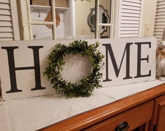 Farmhouse Style ~ Home With Wreath Sign ~ Rustic Home Sign ~ Coastal Farmhouse ~ Farmhouse Sign ~ Shiplap ~ Home Sign Decor ~ Cottage Sign