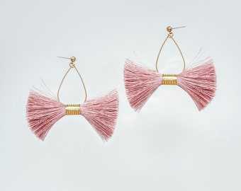 Statement Jewelry Tassel Earrings Hoop Earrings Statement Earrings Mother's Day Gift Mom Gift For Her Pink Tassel Earrings/ PINA